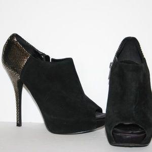 Aldo Black Silver Stiletto Heels Suede Booties